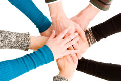 Hände zusammen verbunden Stockbild