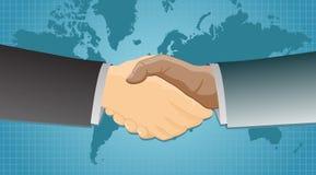 Händedruck über einem Weltkartenhintergrund Lizenzfreies Stockbild