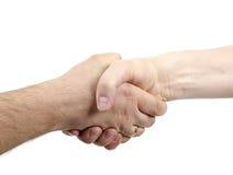 Händedruck getrennt auf weißem Hintergrund Stockfotos