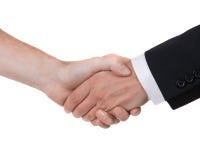 Händedruck getrennt auf weißem Hintergrund Lizenzfreie Stockfotografie