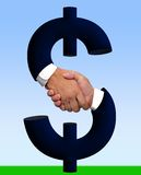 Händedruck mit Geld-Zeichen (mit Ausschnitts-Pfad) Lizenzfreies Stockbild