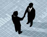 Händedruck mit zwei Geschäftsmännern Lizenzfreie Stockfotografie