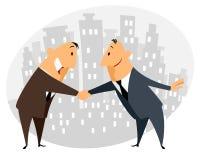 Händedruck mit zwei Geschäftsmännern Lizenzfreies Stockfoto