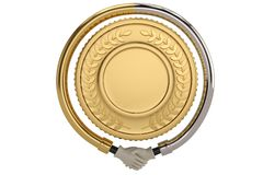 Händedruck um Goldmünze auf weißem Hintergrund Abbildung 3D lizenzfreie abbildung