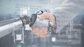 Händedruck zwischen den Roboter- und menschlichen Händen