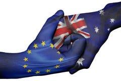 Händedruck zwischen Europäischer Gemeinschaft und Australien stockfoto