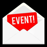 händelse rengöringsduksymbol, emailkommunikation Royaltyfria Foton