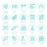 Händelsebyrå som gifta sig organisationsvektorlinjen symbol Partiservice - sköta om, födelsedagkaka, ballonggarnering, blomma vektor illustrationer