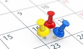 Händelser på upptaget begrepp för kalenderdag stock illustrationer