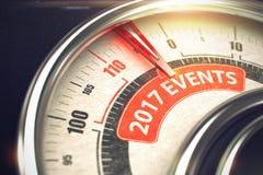 2017 händelser - text på den begreppsmässiga visartavlan med den röda visaren 3d Fotografering för Bildbyråer