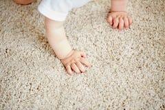 Händer av behandla som ett barn krypning på golv eller matta Arkivfoton