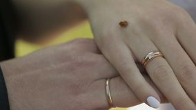 Händer av bruden och brudgummen Nyckelpiga som kryper långsamt till och med bröllop och förlovningsringar av bruden långsam rörel stock video