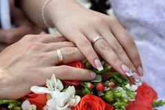 Händer av brudgummen och bruden på bakgrund av bröllopbouque Arkivfoto