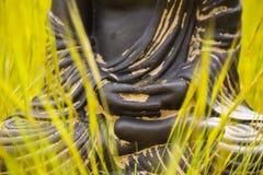 Händer av den buddha statyetten Arkivfoton