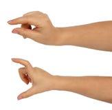 Händer av en caucasian kvinnlig som rymmer några små och stora objekt Fotografering för Bildbyråer
