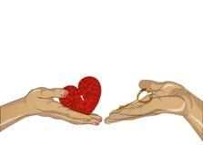 Händer av en man och en vit kvinna som dras in i de elasticitet royaltyfri illustrationer