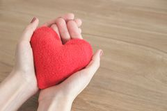 Händer av en ung härlig kvinna som rymmer försiktigt en röd hjärta, på en träbakgrund, selektiv fokus, räddningutrymme royaltyfri fotografi