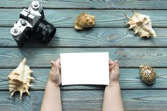 Händer av ett barn rymmer upp en ren vit fotoåtlöje, en kamera, havsskal, en blå träbakgrund royaltyfria foton