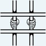 Händer av fånget på galler Royaltyfri Fotografi