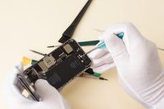 Händer av förlagen i vita handskar demonterade skruvmejselsmartphonen för reparation Royaltyfria Foton