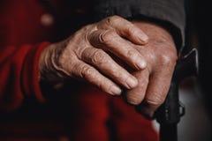 Händer av gammal en kvinna- och maninnehavrotting, rynkad hud royaltyfria foton