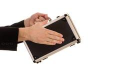 Händer av mannen på fallet Arkivfoton