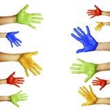 Händer av olika färger Royaltyfri Foto