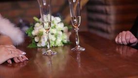 Händer av vänner och champagne stock video