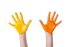 Händer färgad färg Fotografering för Bildbyråer