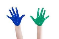 Händer färgad färg Royaltyfria Foton