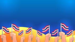 Händer får den thailändska flaggan Arkivbild