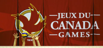 Händer för boll för kvinnor för Kanada lekvolleyboll Royaltyfria Foton