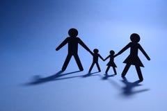 Händer för familjillustrationinnehav Arkivbilder