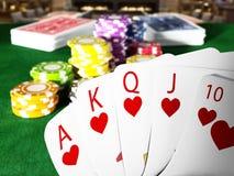 Händer för hand och för kasino för kunglig spolning för poker som står på pokertabellen illustration 3d vektor illustrationer