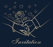 Händer för inbjudanhälsningkort royaltyfri illustrationer