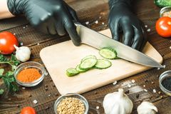 Händer för kvinna` s klippte en gurka, nästan tomaterna, paprikan och vitlöken Arkivfoton