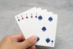 Händer för rak poker Royaltyfria Foton