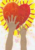 Händer för ` s för barn för ` för applikation för teckning för barn` s når för hjärta`-papper Fotografering för Bildbyråer