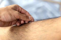 Händer för slut drar upp håriga ben Arkivbild