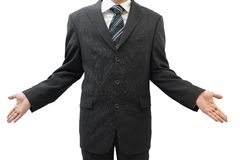 Händer för visning för affärsman öppna, begrepp, som att bry sig, så vad royaltyfria foton
