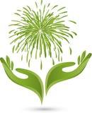 Händer fyrverkerier, explosion, naturläkare, logo Arkivfoto