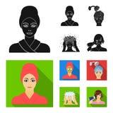 Händer, hygien, cosmetology och annan rengöringsduksymbol i svart, lägenhetstil Bada kläder, hjälpmedelsymboler i uppsättningsaml royaltyfri illustrationer