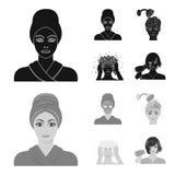 Händer, hygien, cosmetology och annan rengöringsduksymbol i svart, monochromstil Bada kläder, hjälpmedelsymboler i uppsättningsam royaltyfri illustrationer