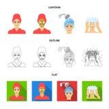 Händer, hygien, cosmetology och annan rengöringsduksymbol i tecknade filmen, översikt, lägenhetstil Bada kläder, hjälpmedelsymbol stock illustrationer