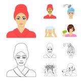 Händer, hygien, cosmetology och annan rengöringsduksymbol i tecknade filmen, översiktsstil Bada kläder, hjälpmedelsymboler i upps royaltyfri illustrationer