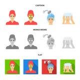 Händer, hygien, cosmetology och annan rengöringsduksymbol i tecknade filmen, lägenhet, monokrom stil Bada kläder, hjälpmedelsymbo vektor illustrationer