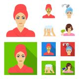 Händer, hygien, cosmetology och annan rengöringsduksymbol i tecknade filmen, lägenhetstil Bada kläder, hjälpmedelsymboler i uppsä vektor illustrationer