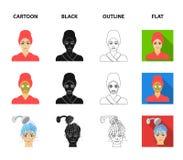 Händer, hygien, cosmetology och annan rengöringsduksymbol i tecknade filmen, svart, översikt, lägenhetstil Bada kläder, hjälpmede stock illustrationer