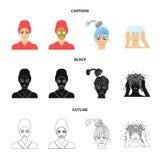 Händer, hygien, cosmetology och annan rengöringsduksymbol i tecknade filmen, svart, översiktsstil Bada kläder, hjälpmedelsymboler vektor illustrationer