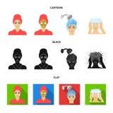 Händer, hygien, cosmetology och annan rengöringsduksymbol i tecknade filmen, svart, lägenhetstil Bada kläder, hjälpmedelsymboler  vektor illustrationer